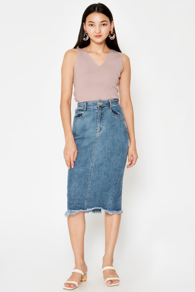 ALETA DENIM MIDI SKIRT