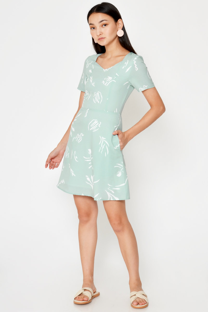 AUDINE ABSTRACT PRINT FLARE DRESS