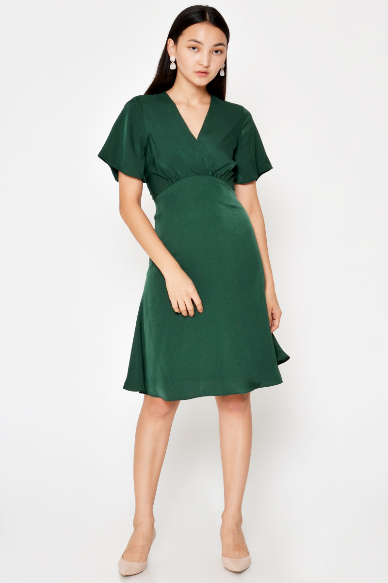 CELESTE FLUTTER SLEEVE WRAP DRESS