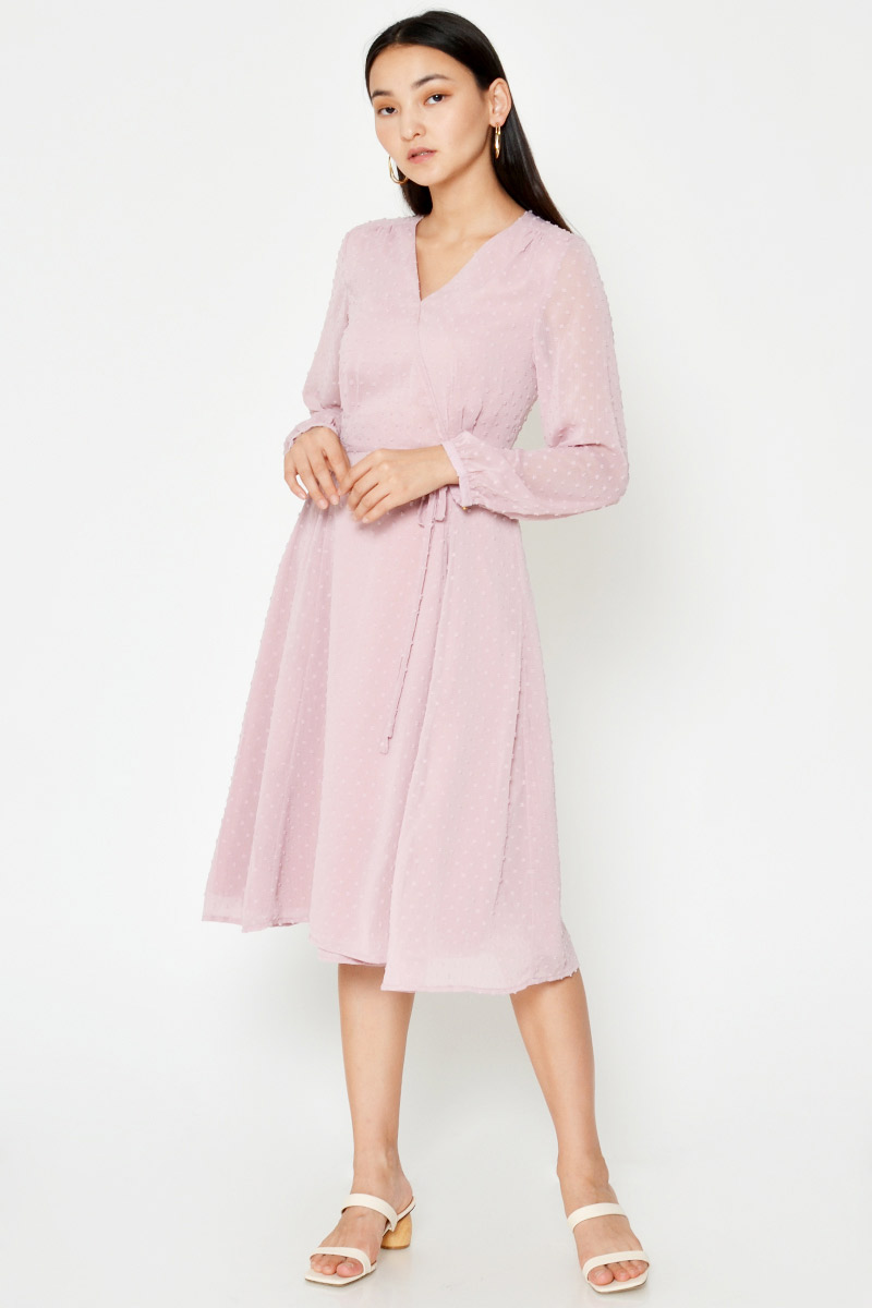 EARLINA POLKA DOT CHIFFON MIDI DRESS