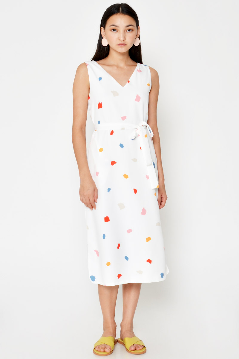 EDELLA PAINT STROKE MIDI DRESS W SASH