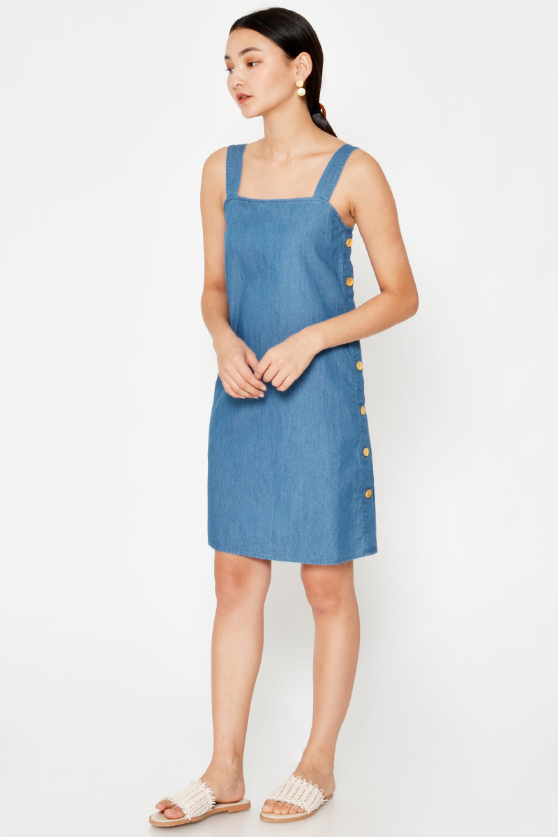 TAILA DENIM SIDE BUTTONS DRESS