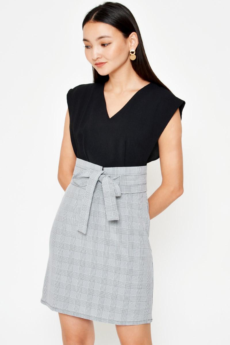 EDGAR PLAID DRESS W OBI BELT
