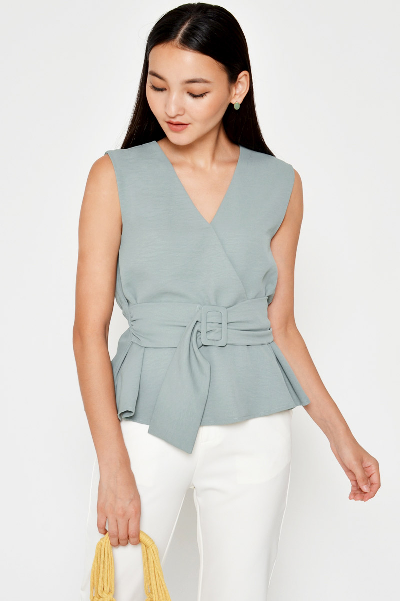KARLEE BUCKLE WRAP TOP