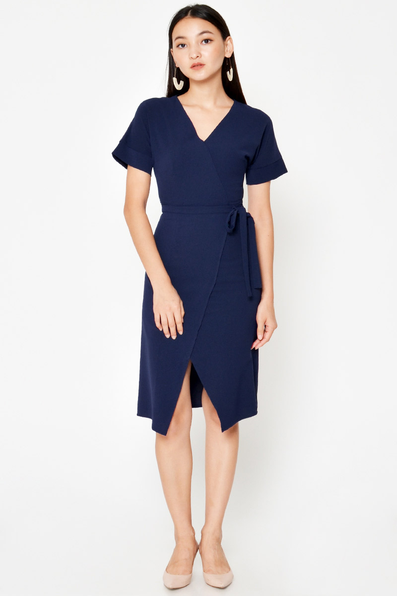 LENA WRAP MIDI DRESS