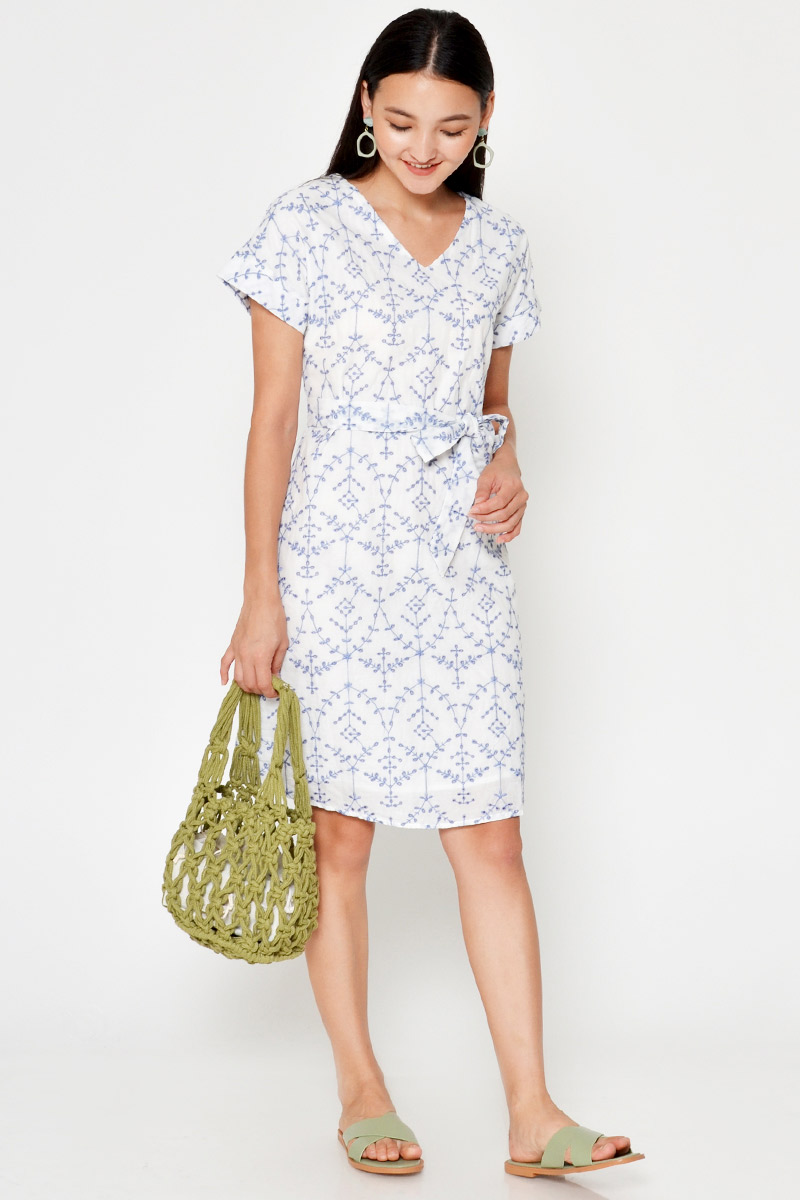 MEGHAN EMBROIDERY EYELET DRESS W SASH