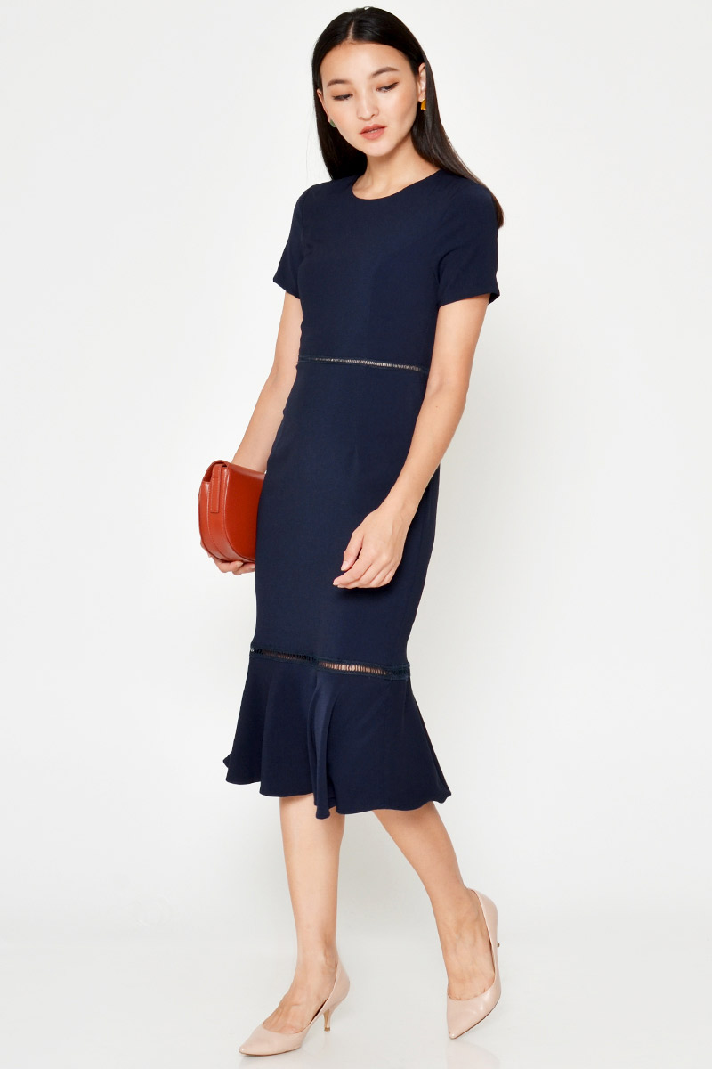 MERLYN CUTOUT MERMAID MIDI DRESS