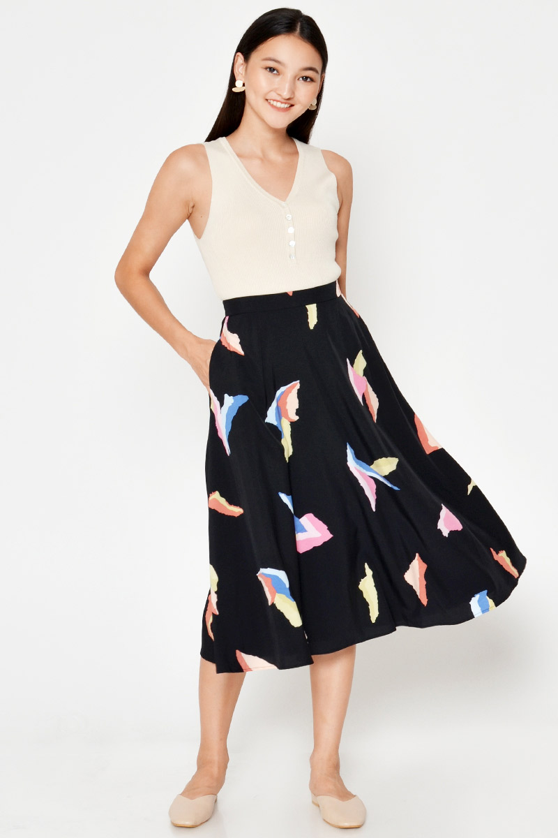 WILLA ABSTRACT MIDI SWING SKIRT