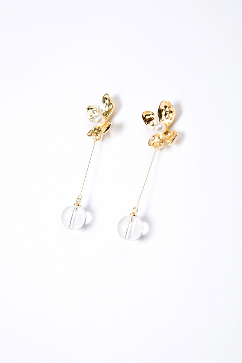 FLOWER DANGLE SPHERE BALL EARRINGS