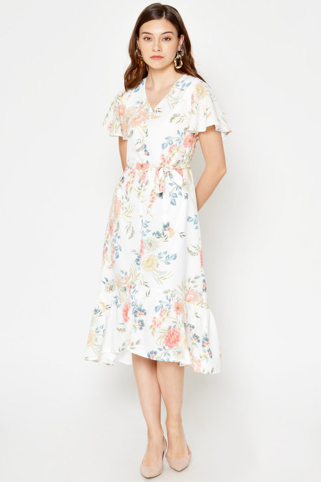 *BACKORDER 2* ELMI FLORAL MIDI DRESS W SASH