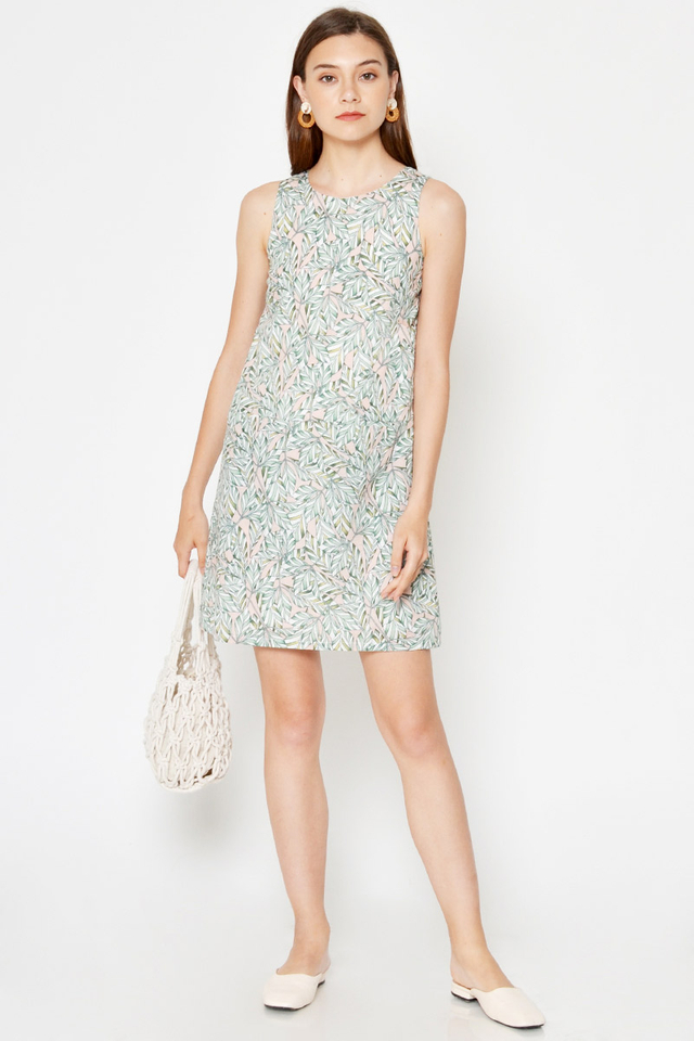 *BACKORDER* SHELA LEAF PRINTED POCKET SHIFT DRESS