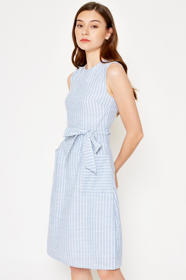 *BACKORDER 2* TIRA STRIPE FRONT POCKET DRESS W SASH