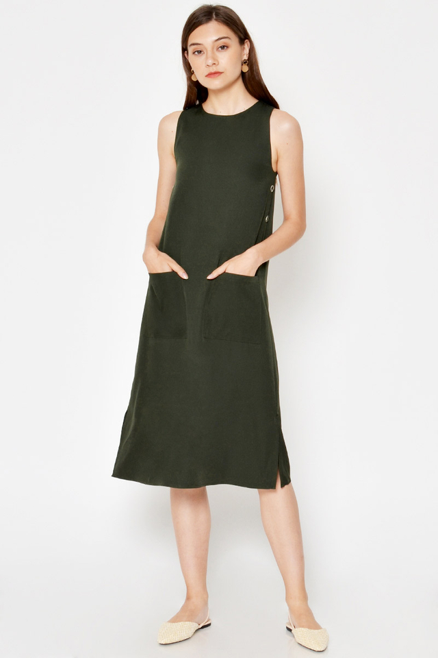 *BACKORDER* VERENA SIDE BUTTONS MIDI DRESS