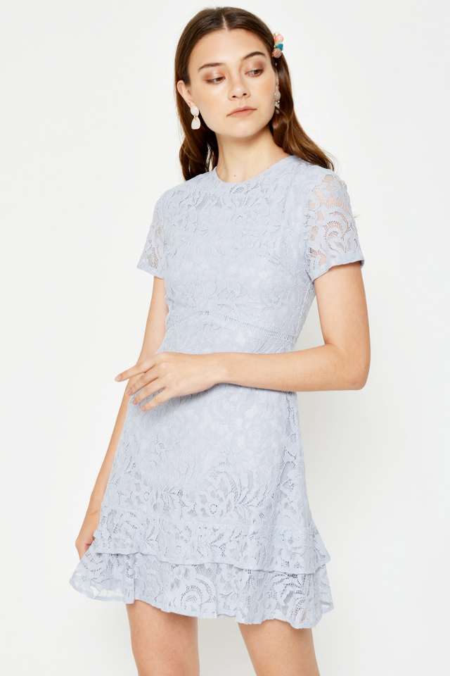 JERINE LACE TIERED HEM FLARE DRESS