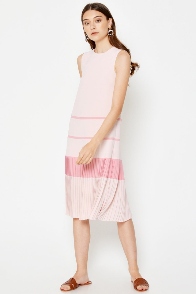 *BACKORDER* YOLANDA COLOURBLOCK PLEATED HEM MIDI DRESS