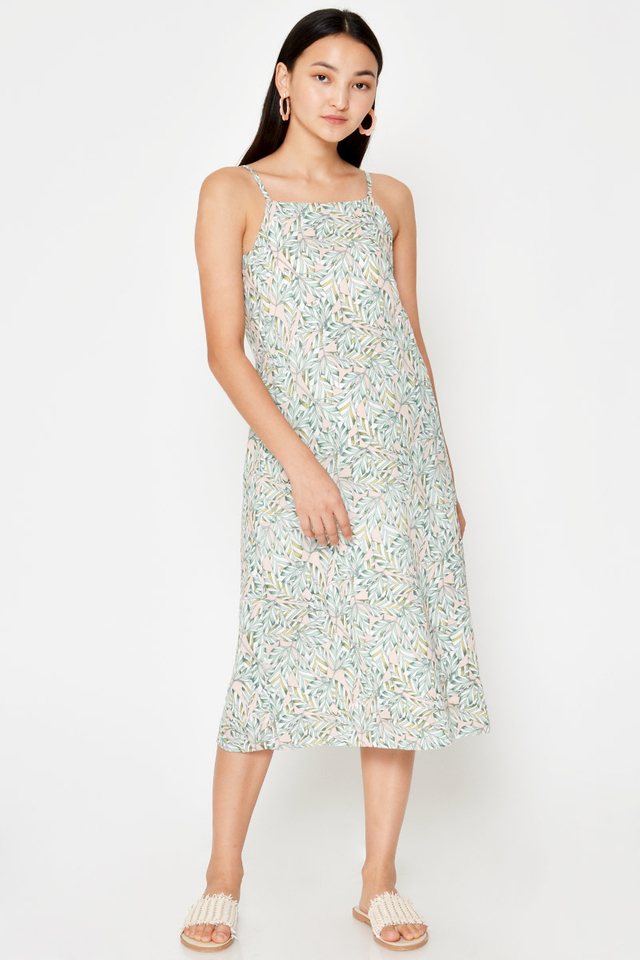 ELYCE LEAF PRINT MIDI DRESS