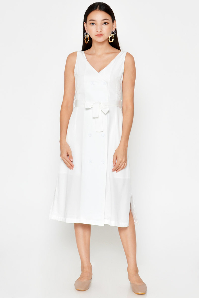 FARELLE BUTTON MIDI DRESS W SASH