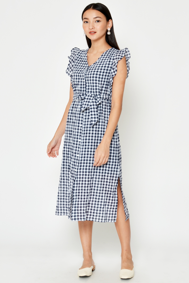 AURIA CHECKERED RUFFLE MIDI DRESS W SASH