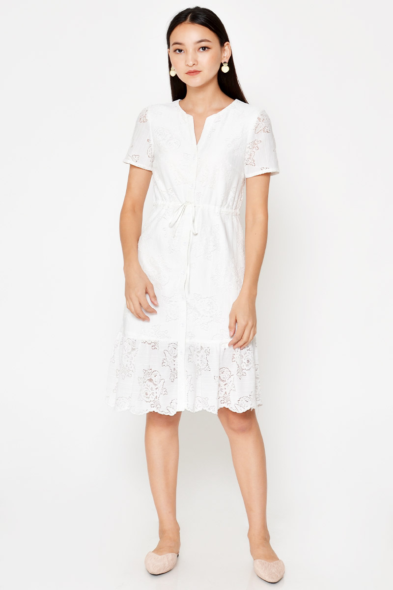 CALLIE LACE DRAWSTRING DRESS