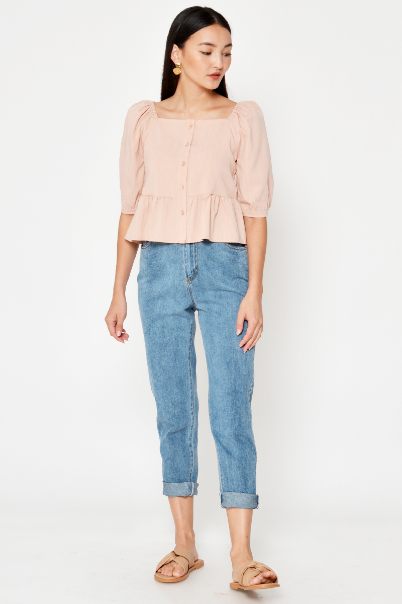 FERINE PUFF SLEEVE BUTTONDOWN TOP