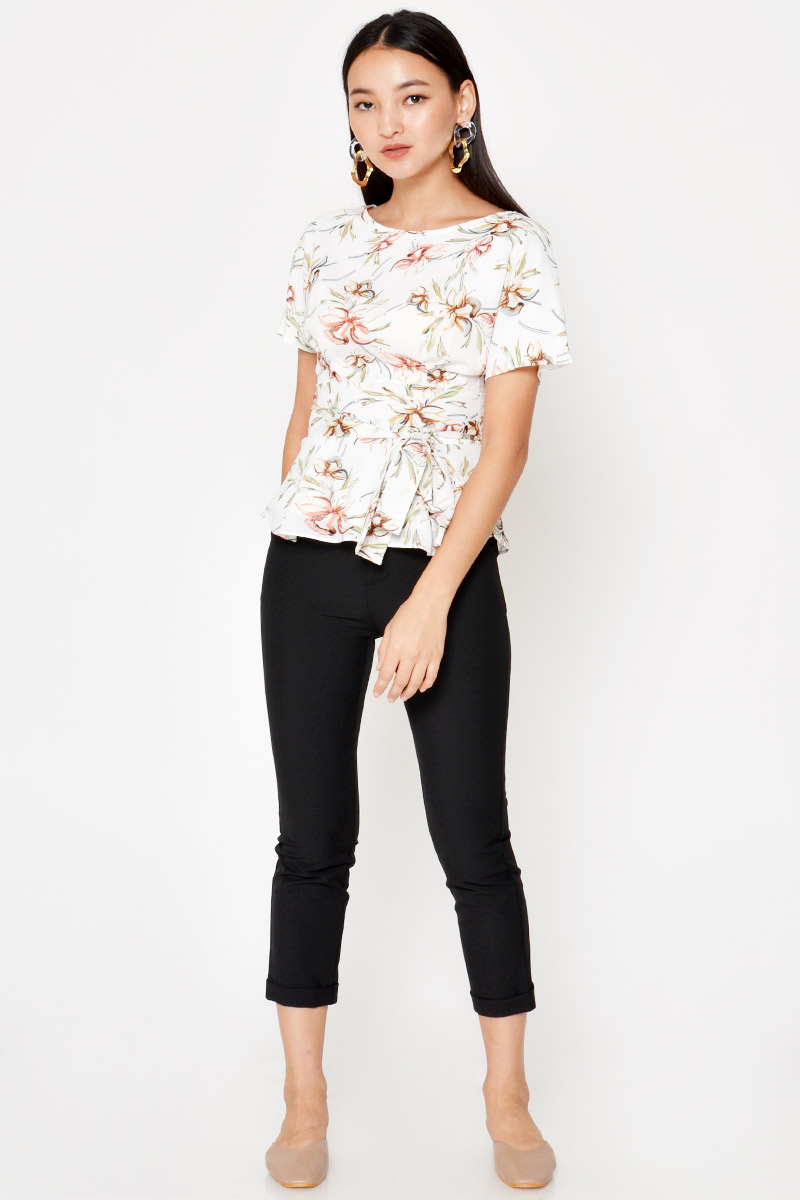 HAIMI FLORAL PEPLUM TOP WITH SASH