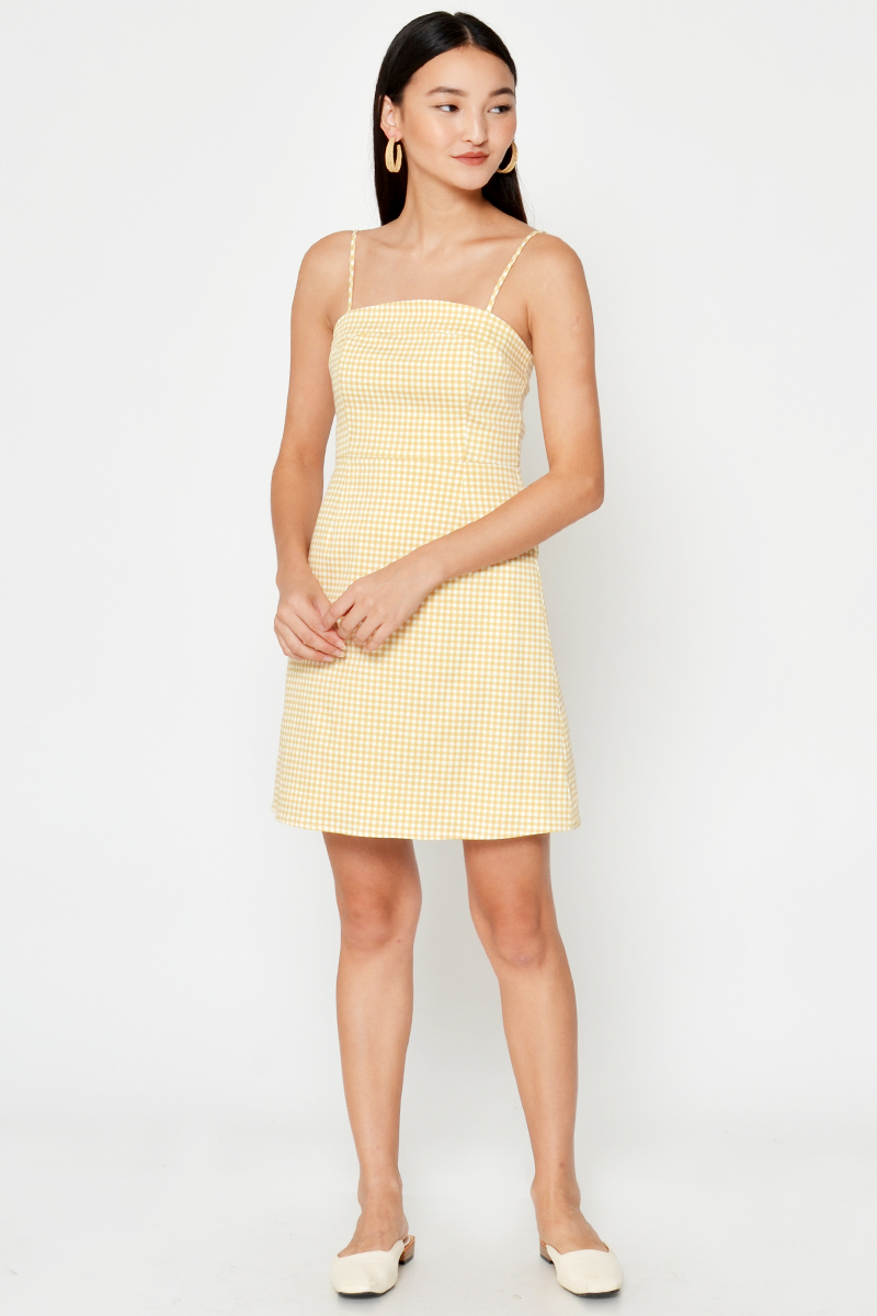 OLSEN CHECKERED MINI DRESS