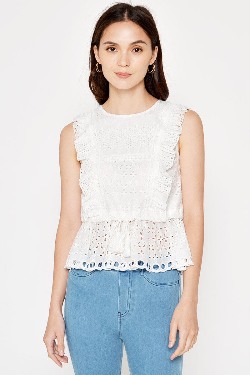 ALICE EYELET DRAWSTRING TOP