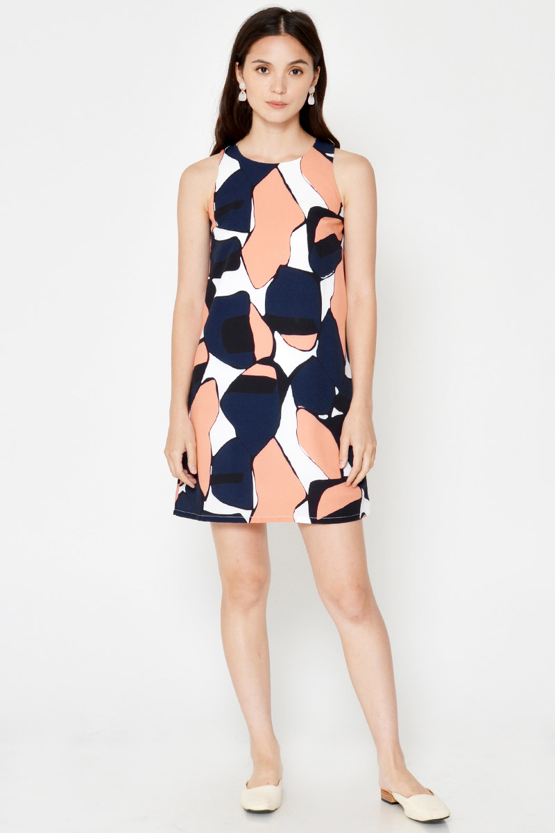JANETTE ABSTRACT SHIFT DRESS