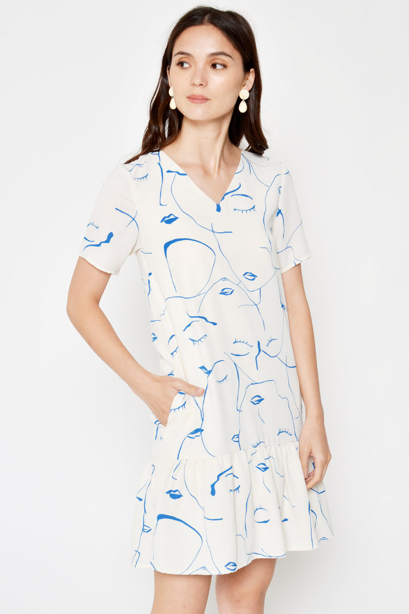 JOEI ABSTRACT FACES PRINT DROPWAIST DRESS