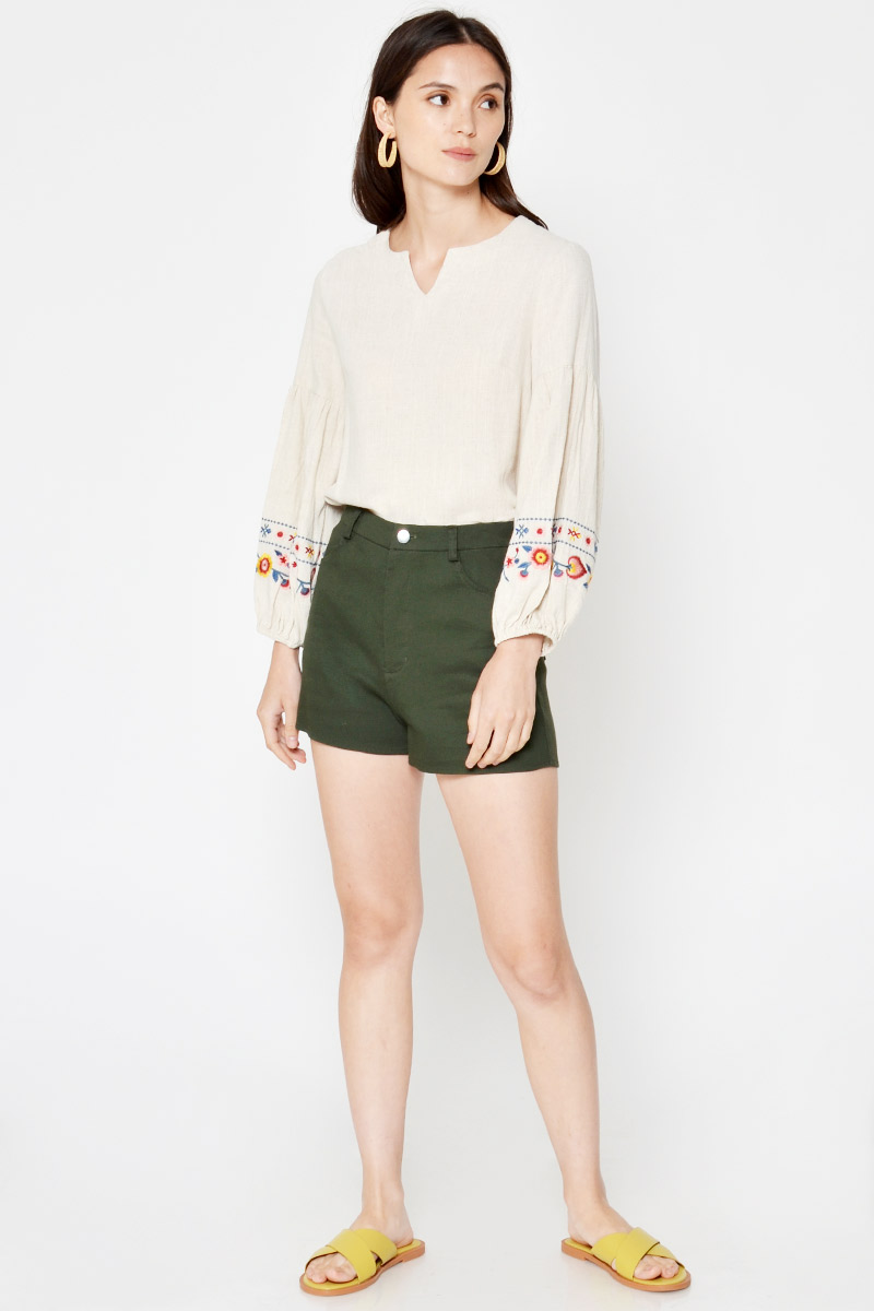 KARITA EMBROIDERY PUFF SLEEVE TOP