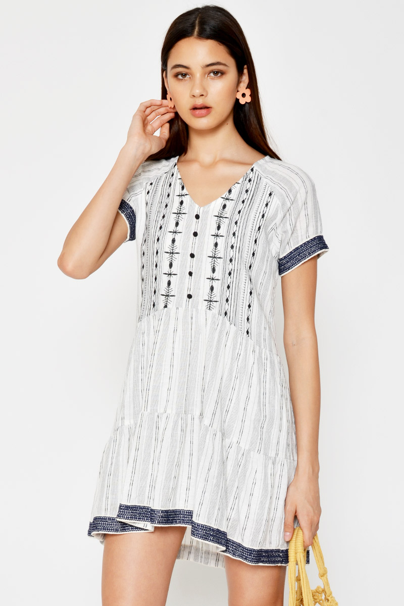 ALLYSA BOHO HI-LOW BABYDOLL DRESS