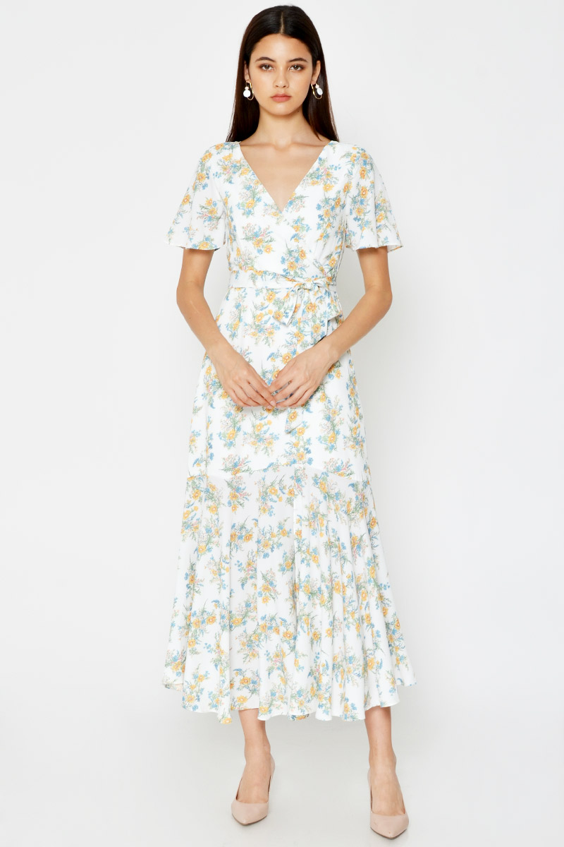 ESTHER FLORAL MAXI DRESS W SASH