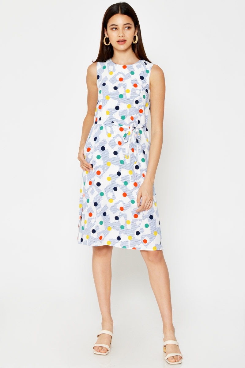 MAKYA ABSTRACT DRESS W SASH