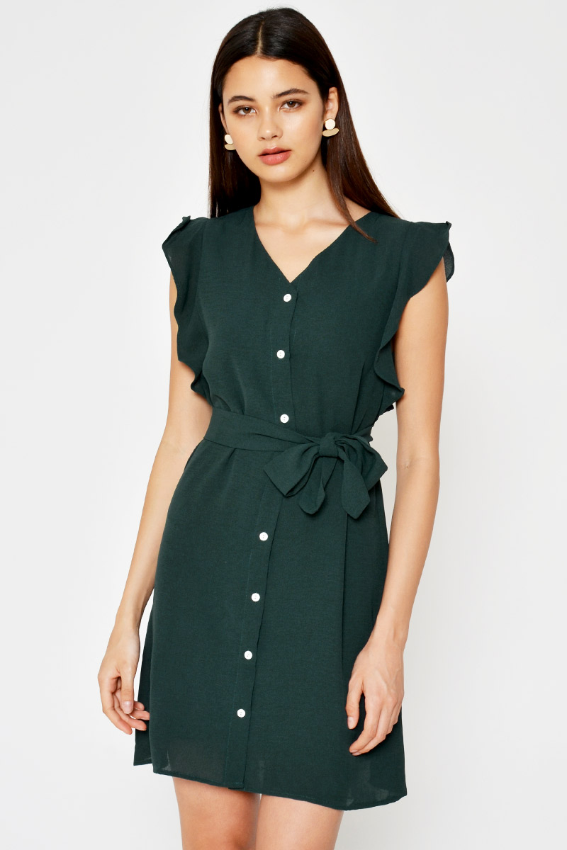 *BACKORDER* NICOLETTE RUFFLE BUTTONDOWN DRESS W SASH