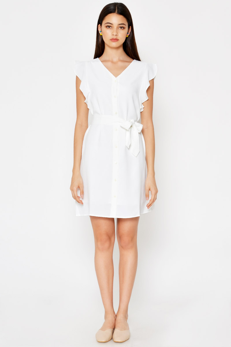 NICOLETTE RUFFLE BUTTONDOWN DRESS W SASH