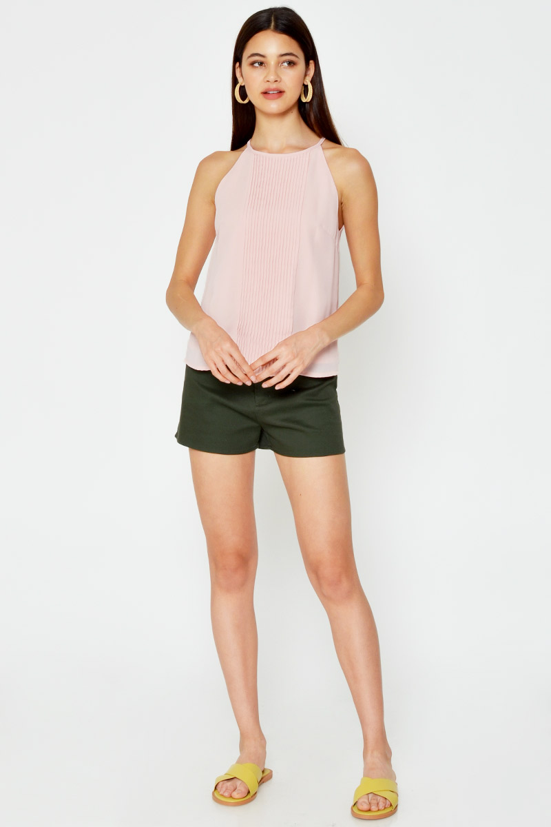 ORLENA PLEATED HALTER TOP