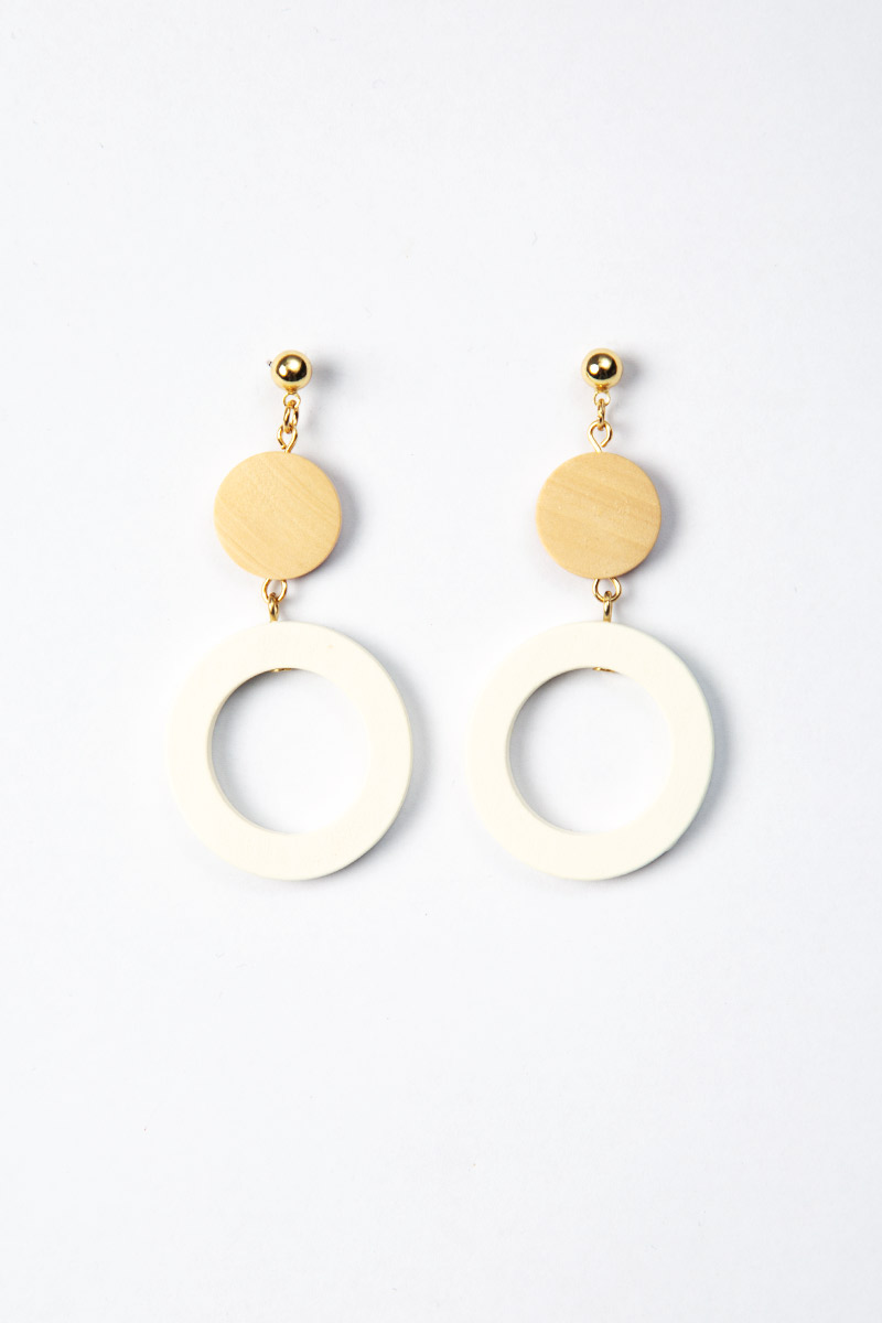 WOODEN RING DANGLE DROP EARRINGS