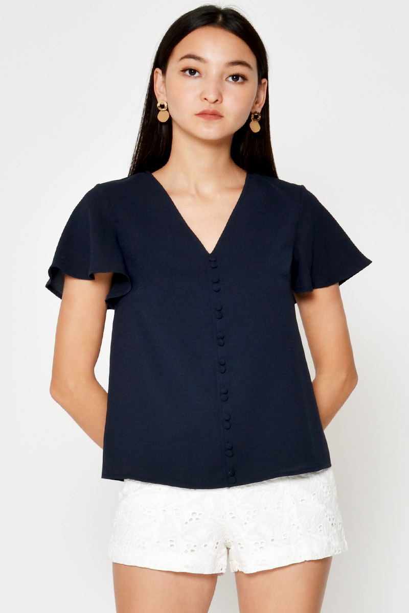 CARISSA BUTTONDOWN FLUTTER SLEEVE TOP