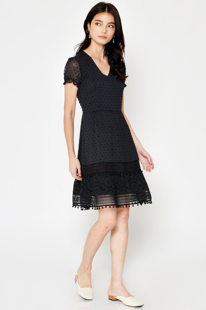 ADELE POLKADOT CHIFFON CROCHET FLARE DRESS