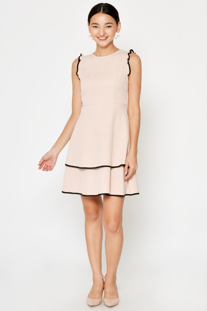 ELIYA CONTRAST PIPING LAYERED FLARE DRESS