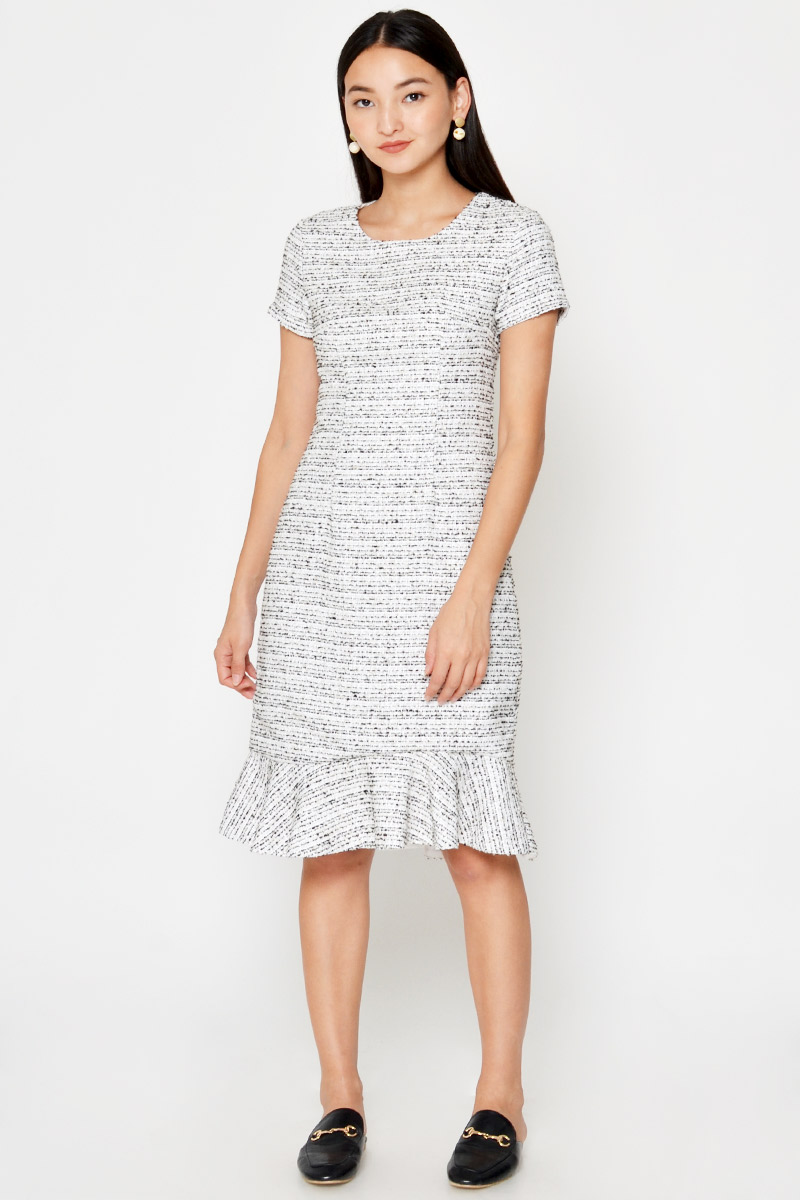 FREIDA TWEED SHEATH MIDI DRESS