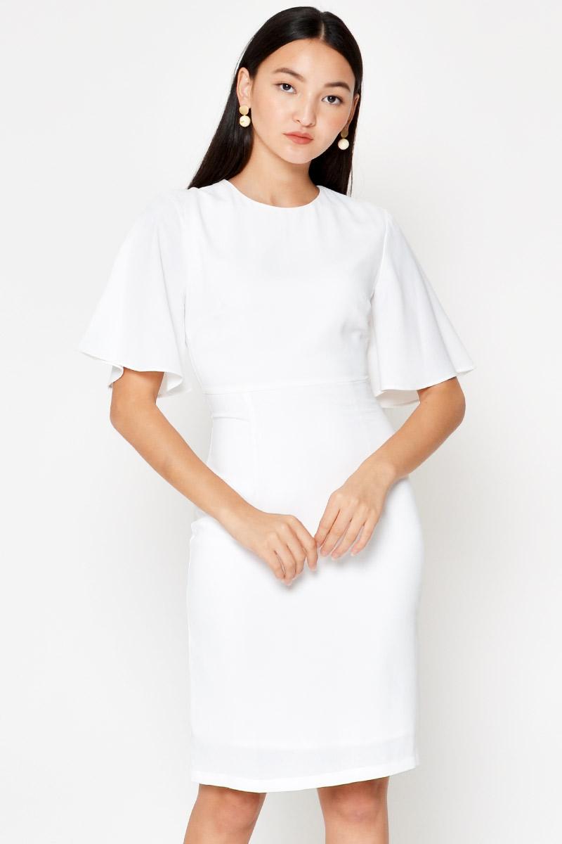 JILL FLUTTER SLEEVE SHEATH DRESS