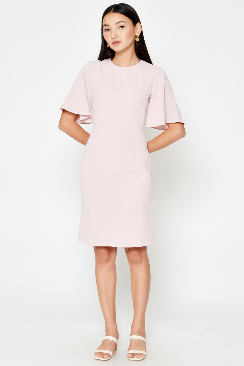 JILL FLUTTER SLEEVE SHEATH DRESS