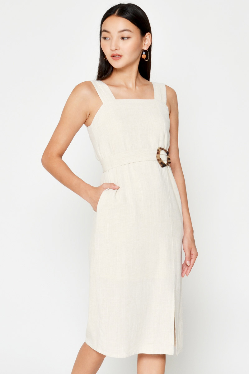 JULIET LINEN MIDI DRESS W TORTOISESHELL SASH