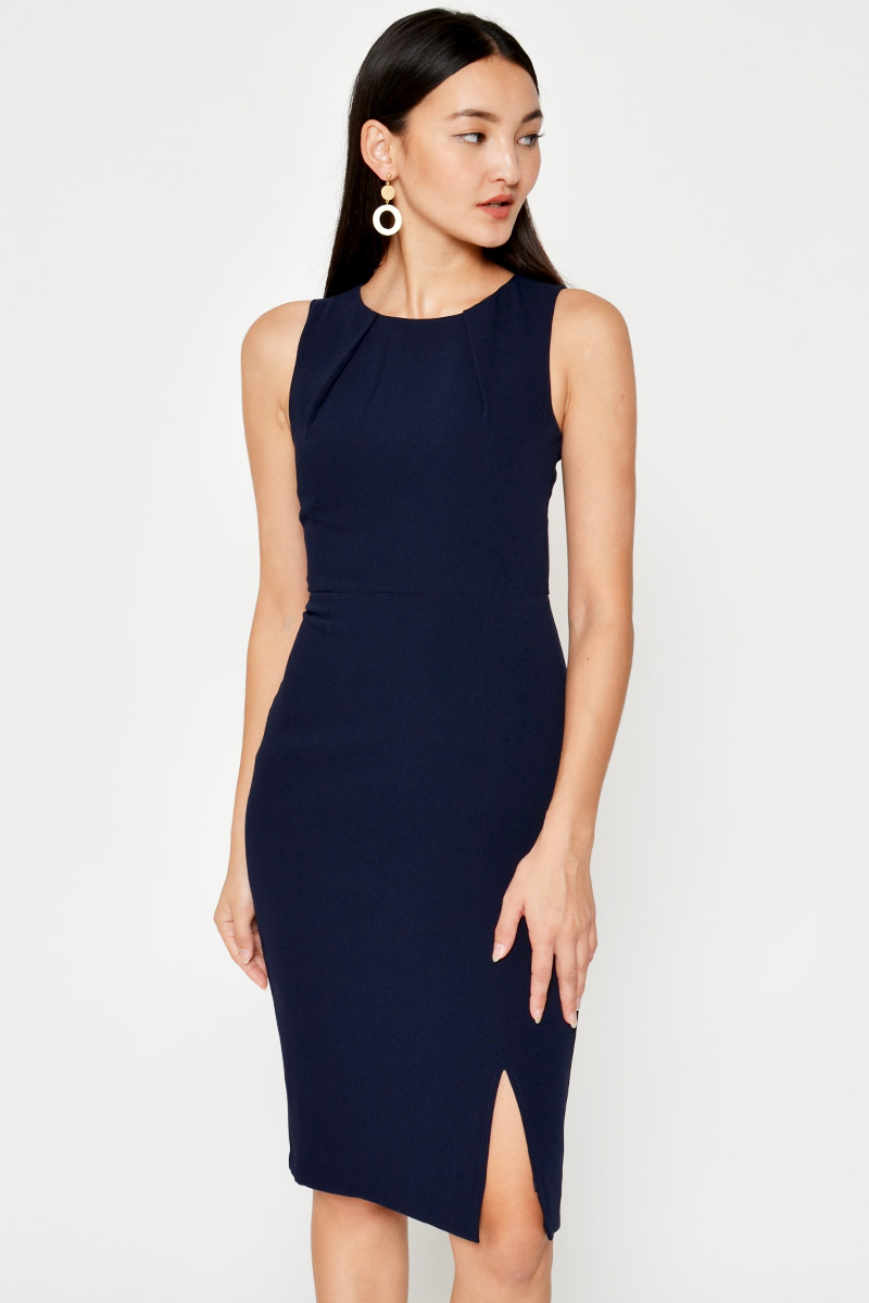 KELLAN FRONT SLIT SHEATH DRESS