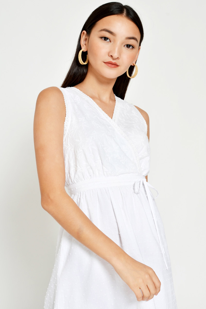 KINA EMBROIDERED DOBBY DOT MIDI DRESS