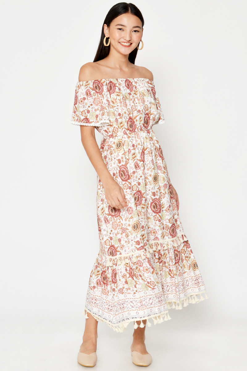 LILIA FLORAL OFF SHOULDER MAXI DRESS