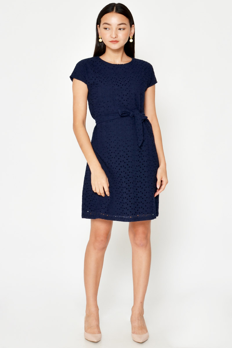 MILLICENT EYELET SHIFT DRESS W SASH