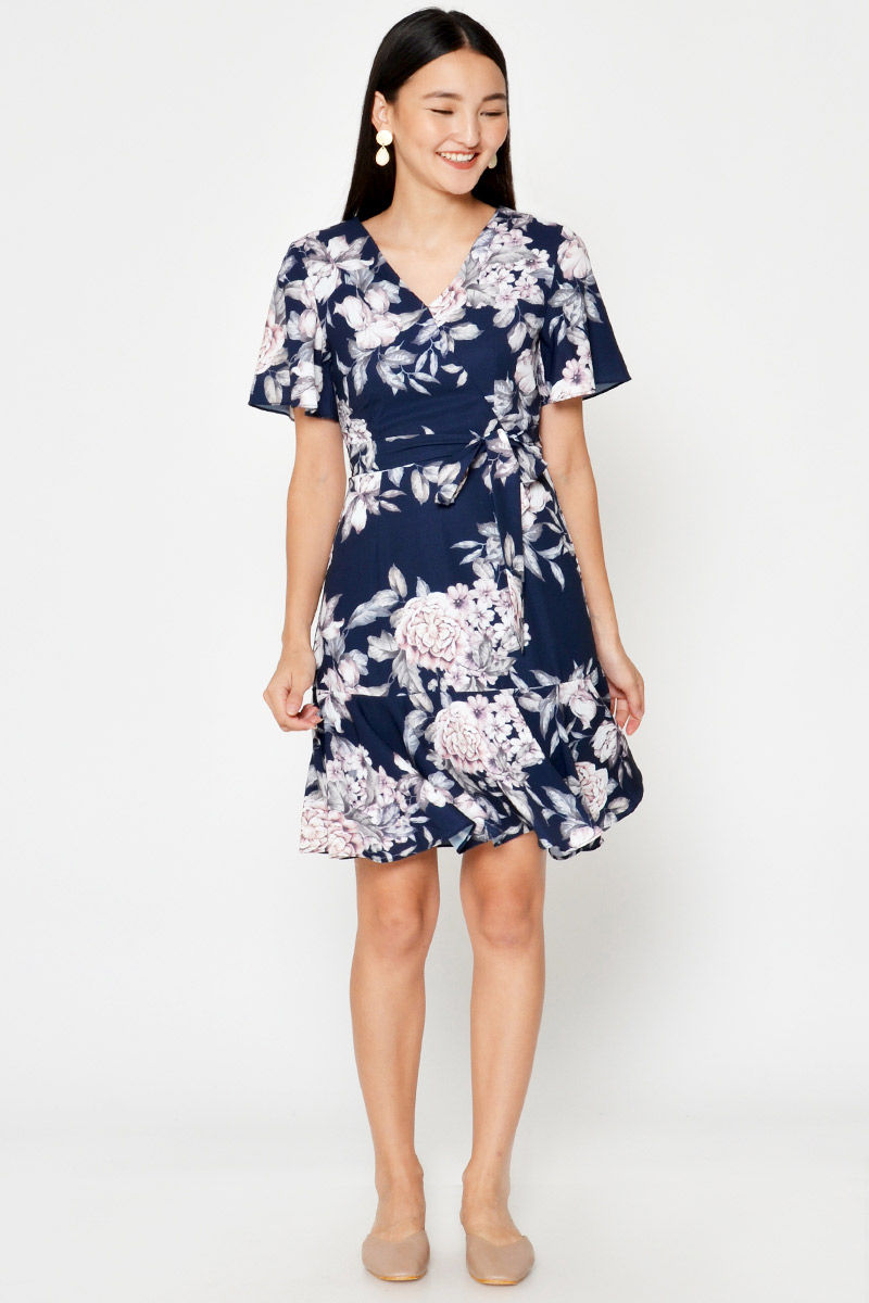 MIRO FLORAL WRAP DRESS W SASH