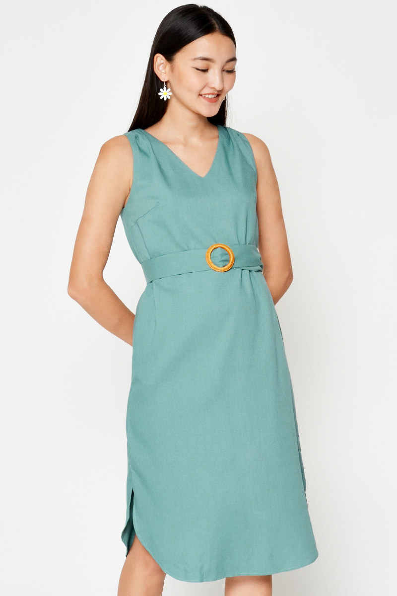 SHARMI CURVED HEM DRESS W BELT SASH